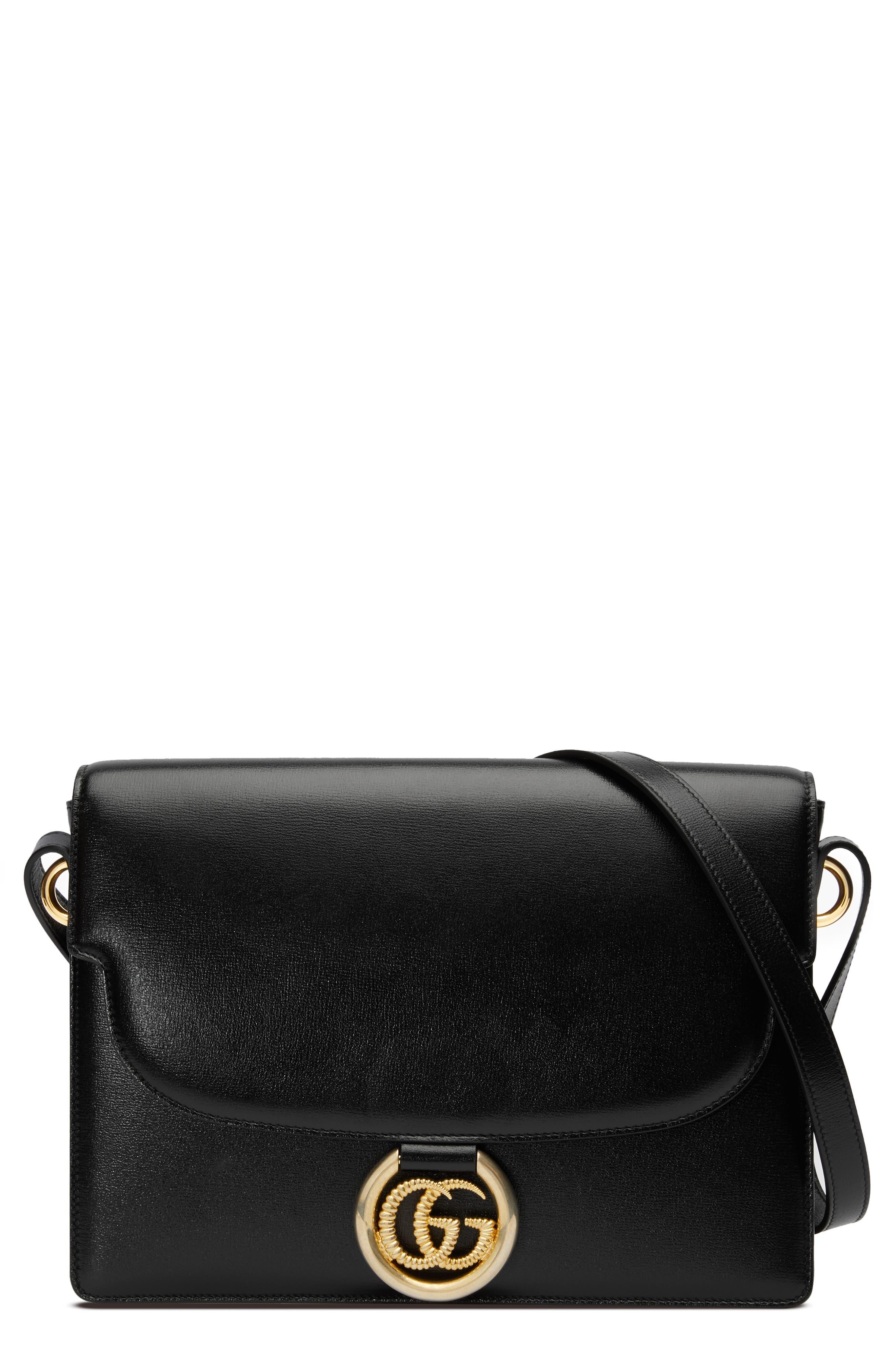 Gucci Shoulder Medium GG Ring Leather Shoulder Bag