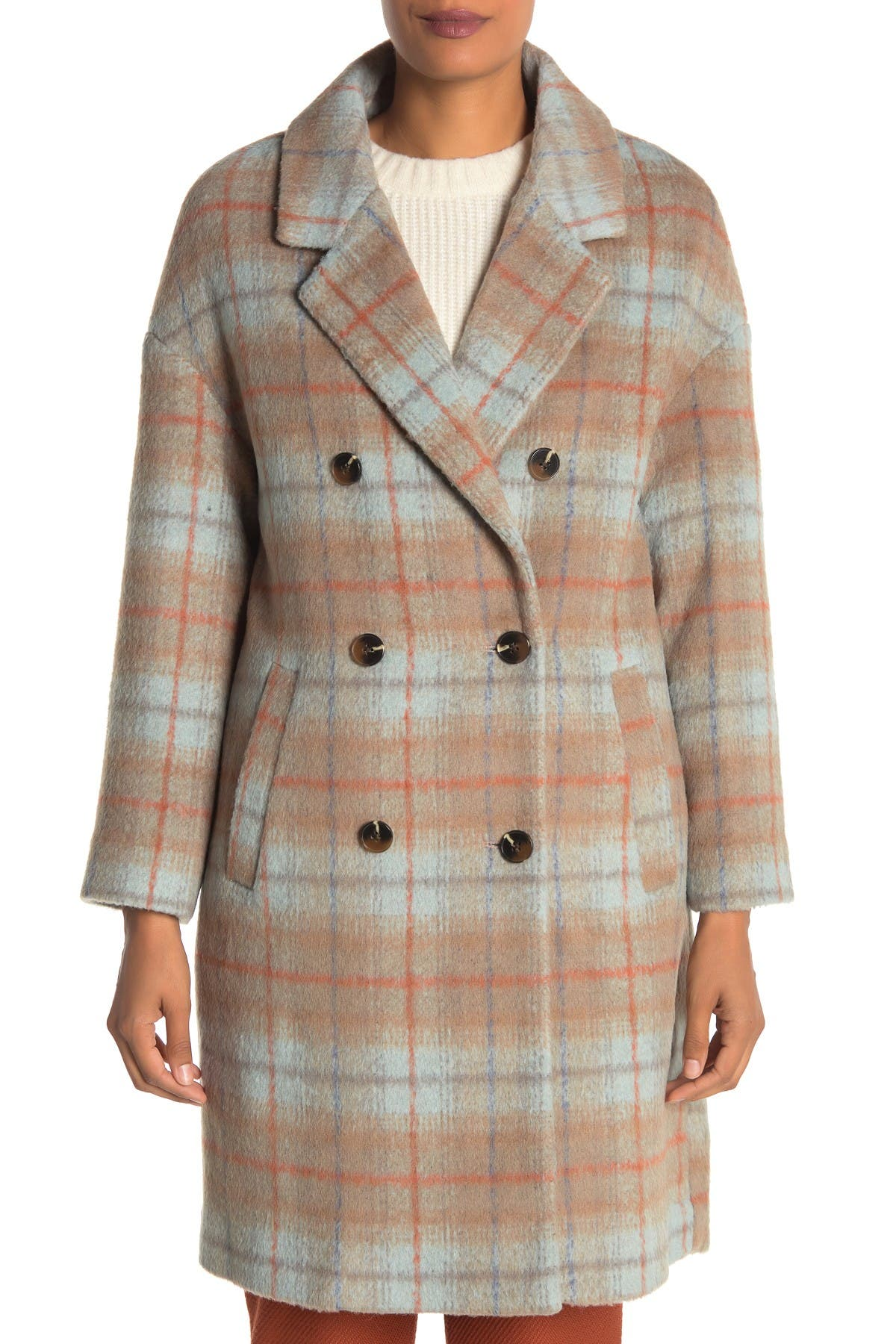 Andrew Marc Plaid Double Breasted Coat