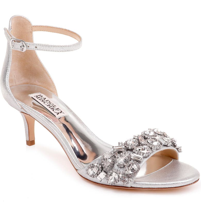 BADGLEY MISCHKA COLLECTION Badgley Mischka Lara Crystal Embellished Sandal, Main, color, SILVER METALLIC SUEDE