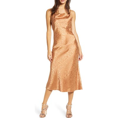 J.o.a. Tonal Leopard Print Cowl Neck Sleeveless Dress, Brown