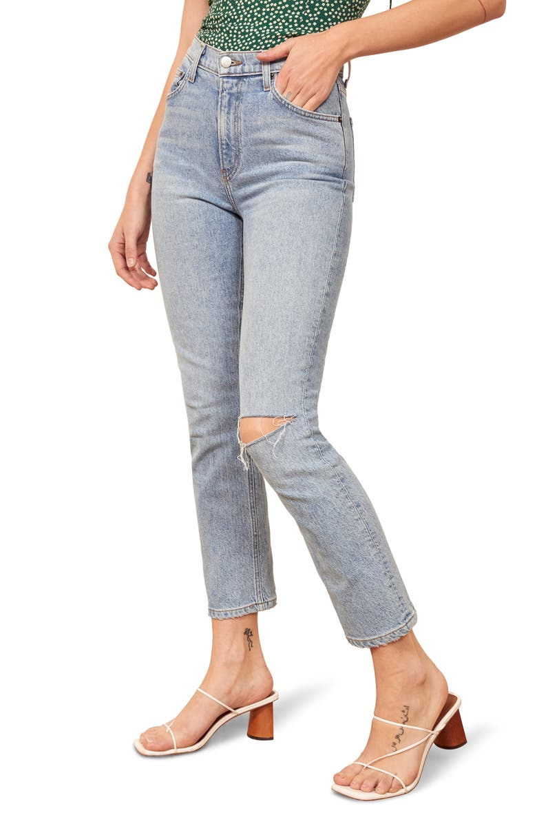 Reformation Liza Ripped High Waist Ankle Straight Leg Jeans