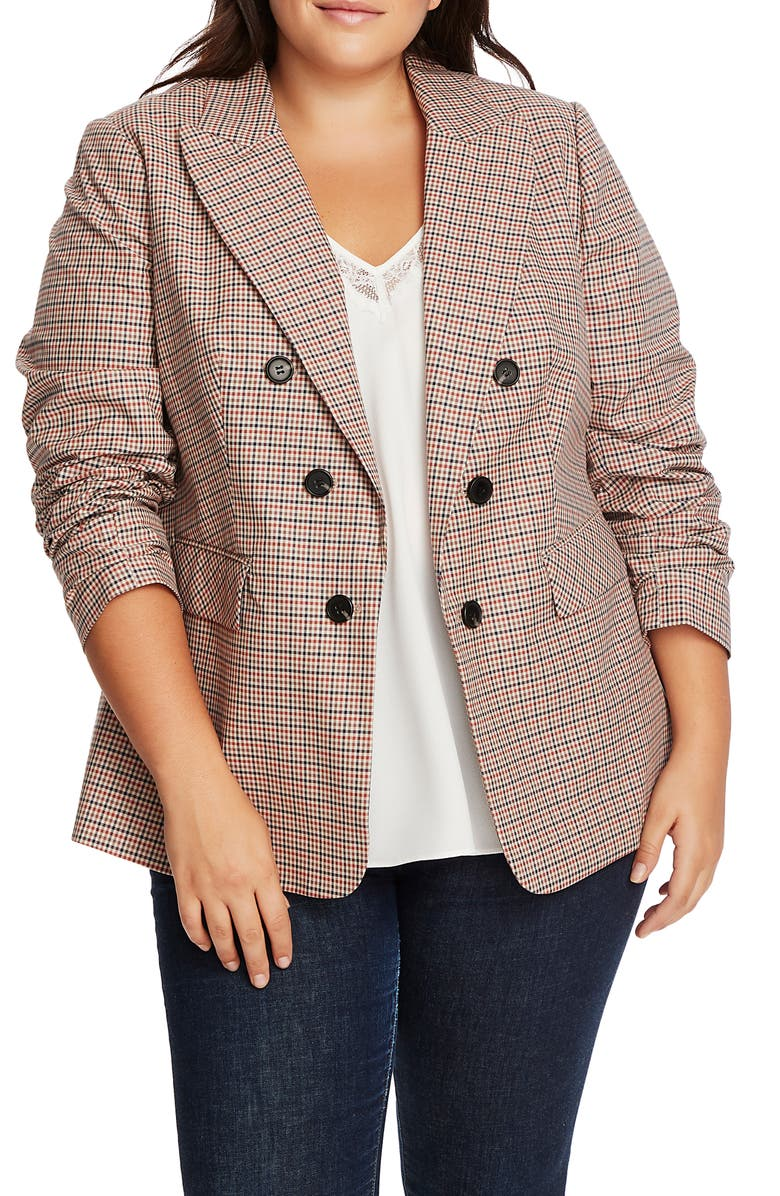 1.STATE Houndstooth Plaid Ruched Sleeve Blazer, Main, color, CLASSIC CAMEL