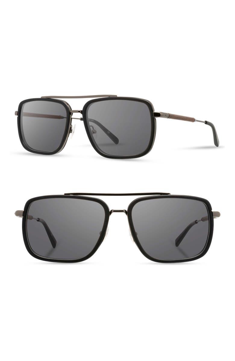 SHWOOD Grant 55mm Polarized Sunglasses, Main, color, BLACK/ GUNMETAL