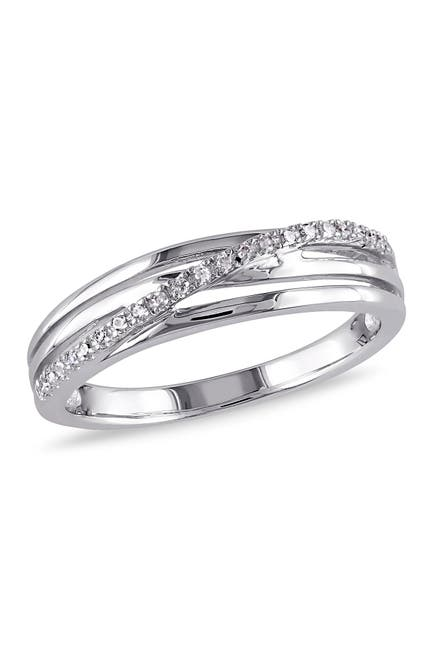 Image of Delmar Sterling Silver Wrapped Diamond Row Ring - 0.06 ctw