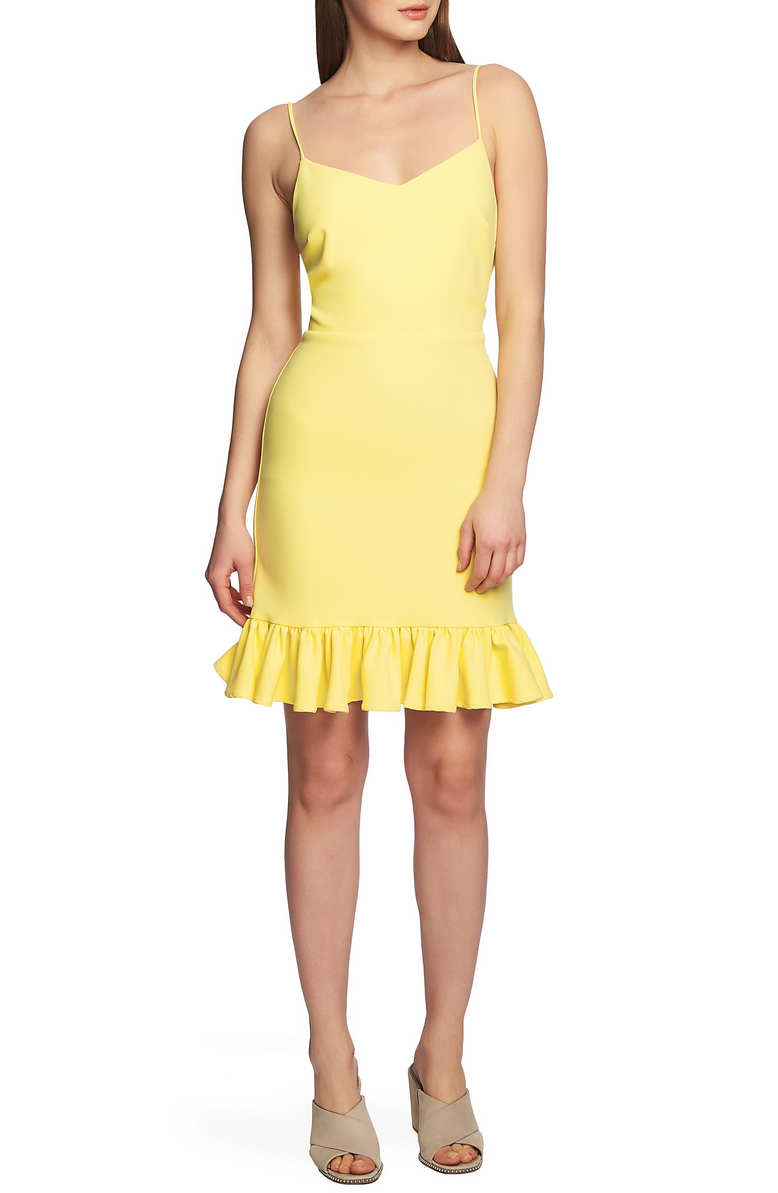1.state Ruffle Hem Slipdress, Yellow