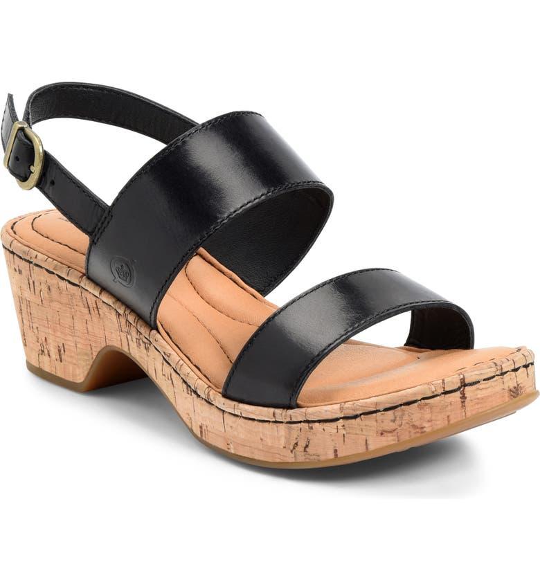 BØRN Atzel Block Heel Sandal, Main, color, BLACK LEATHER