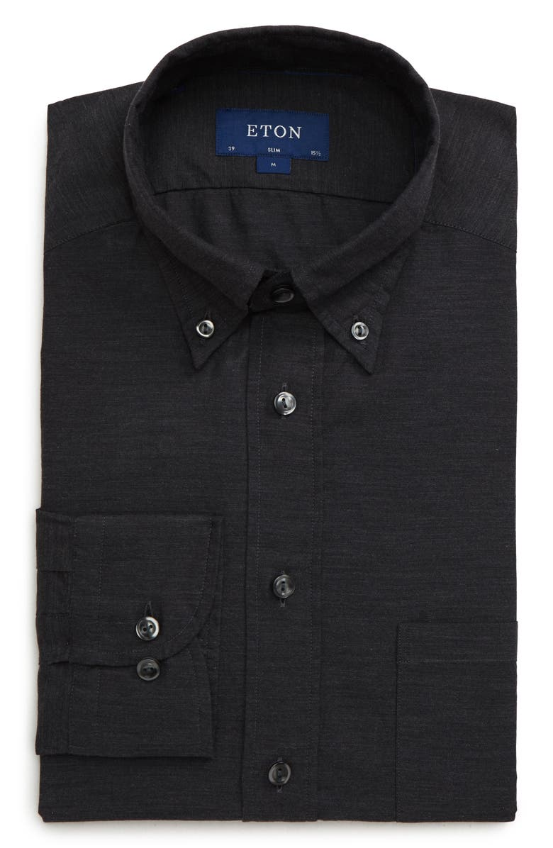 ETON Soft Collection Slim Fit Solid Dress Shirt, Main, color, BLACK