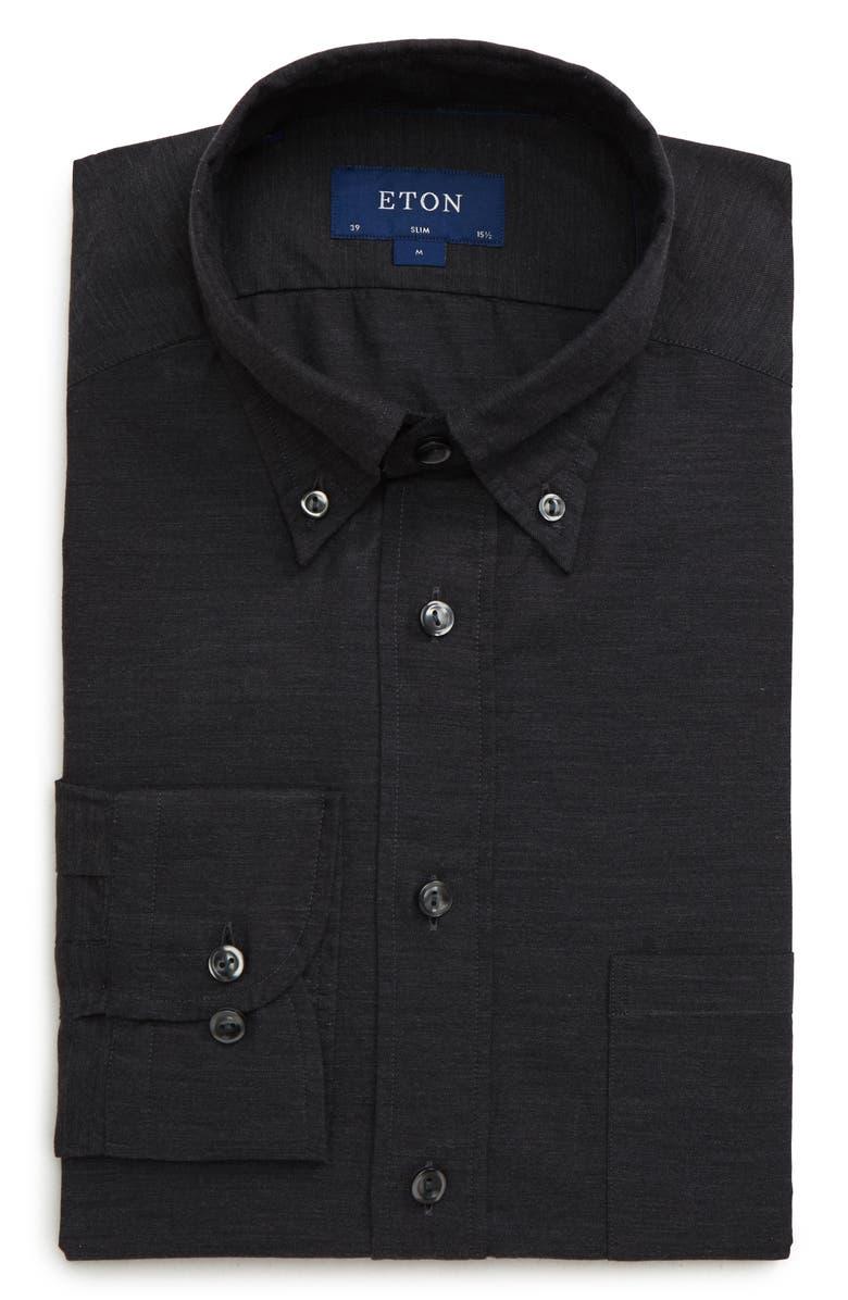 ETON Soft Collection Slim Fit Solid Dress Shirt, Main, color, BLACK