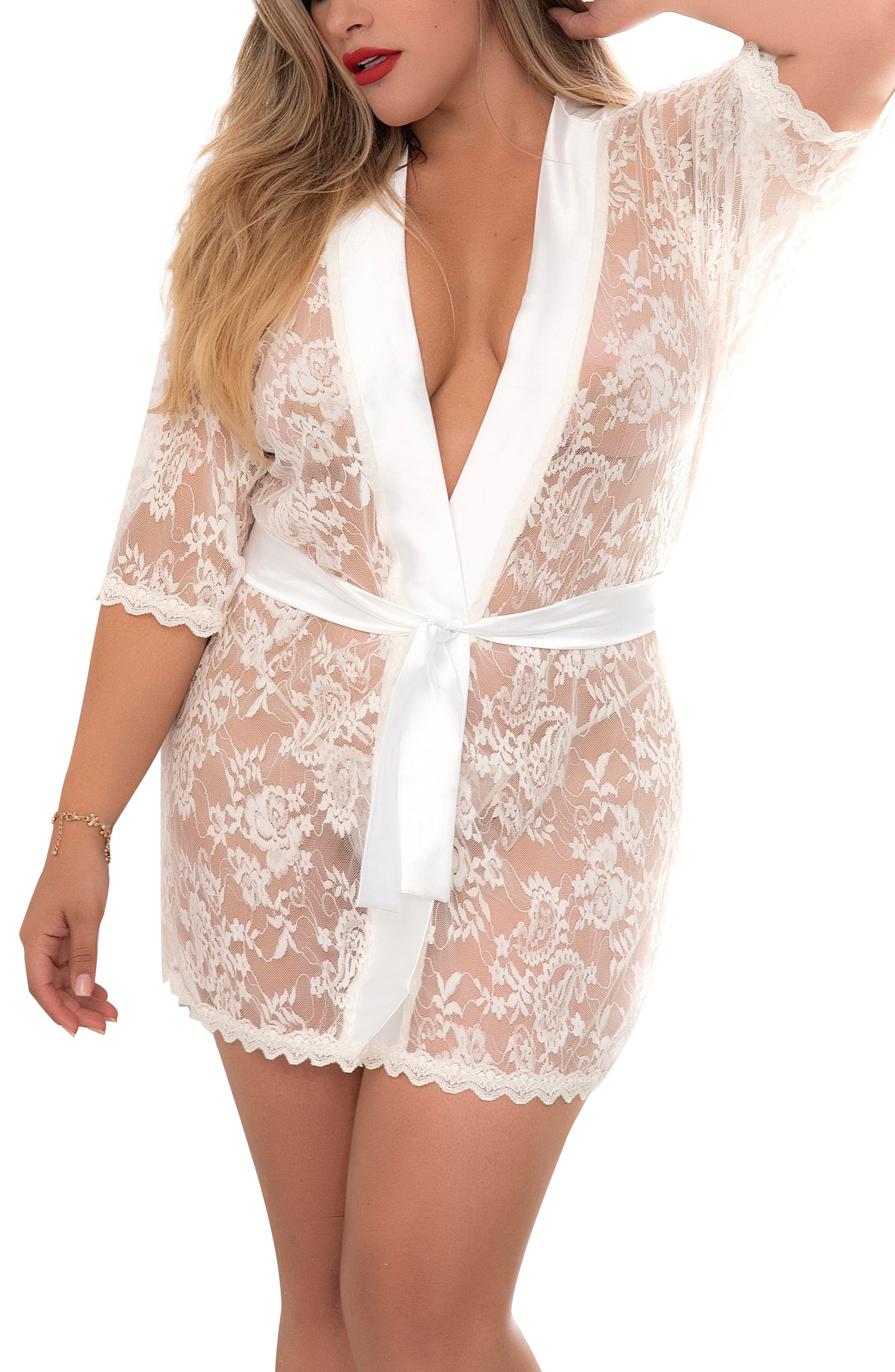 Lace Robe With G-String Thong
