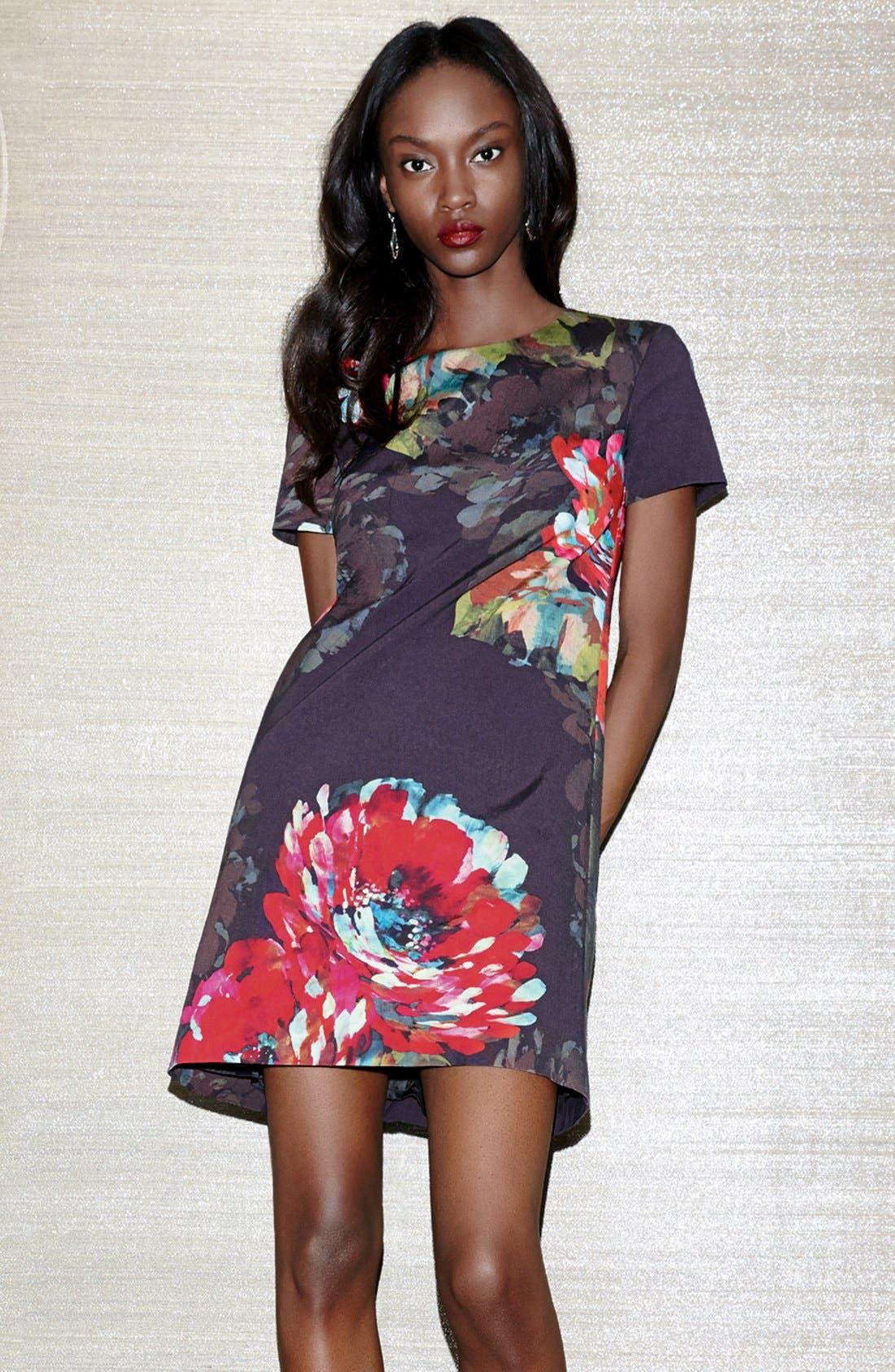 ,                             'Natasha' Flower Print Faille A-Line Dress,                             Alternate thumbnail 6, color,                             001