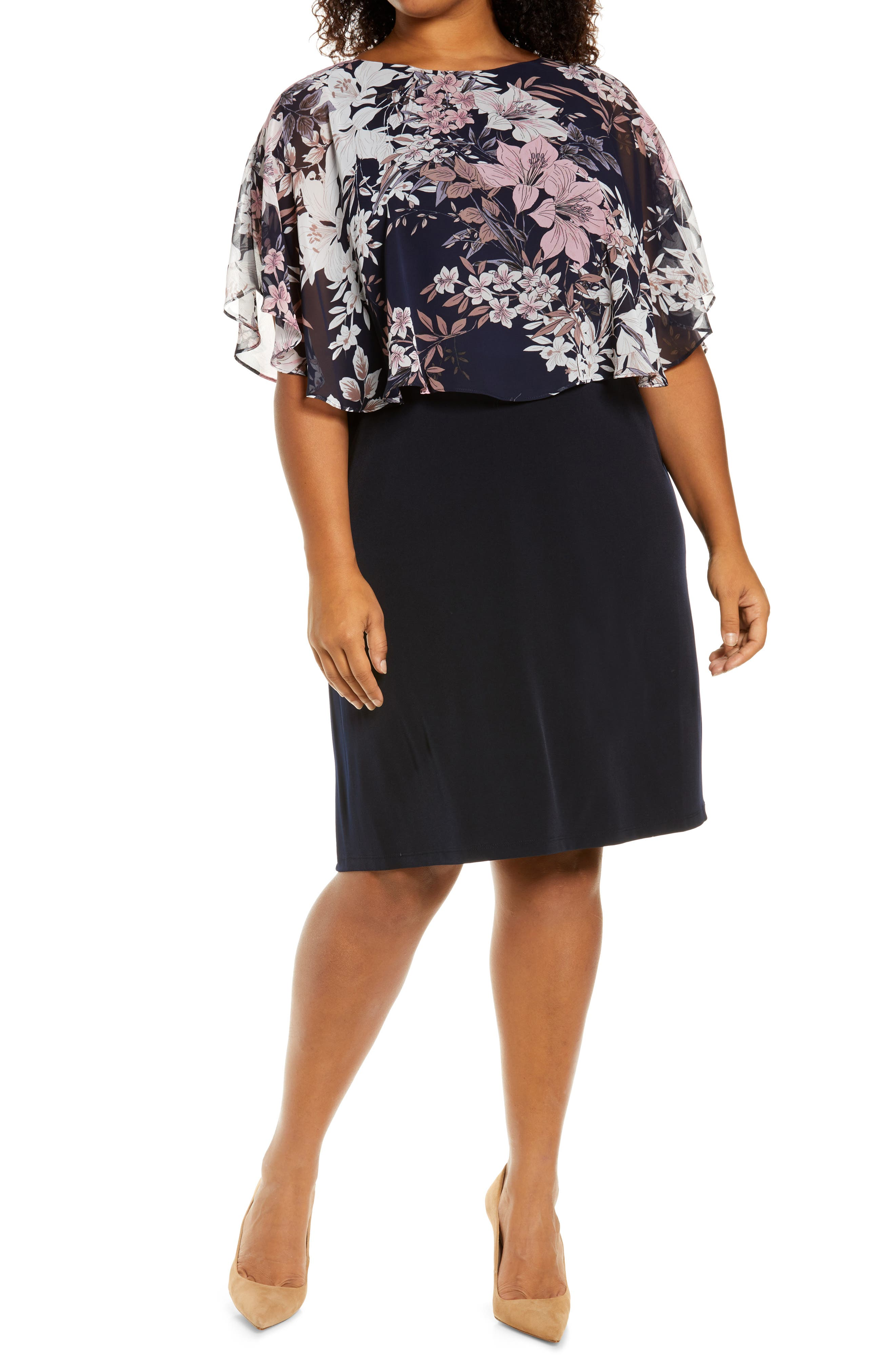Floral Overlay Cape Dress