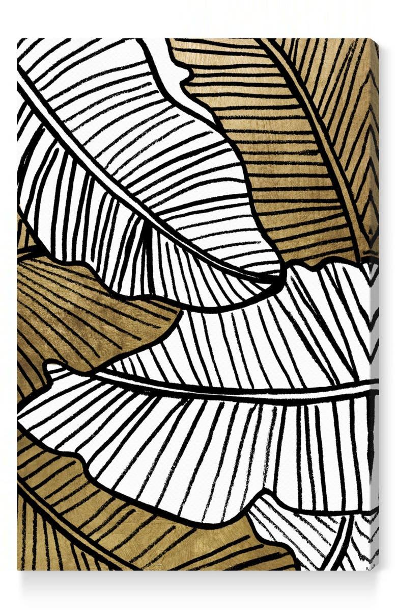 OLIVER GAL Golden Leaf Canvas Wall Art, Main, color, BLACK WHITE GOLD