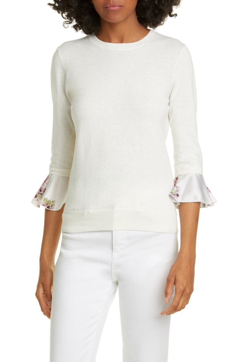 TED BAKER LONDON Neopolitan Frill Sleeve Cotton Blend Sweater, Main, color, IVORY