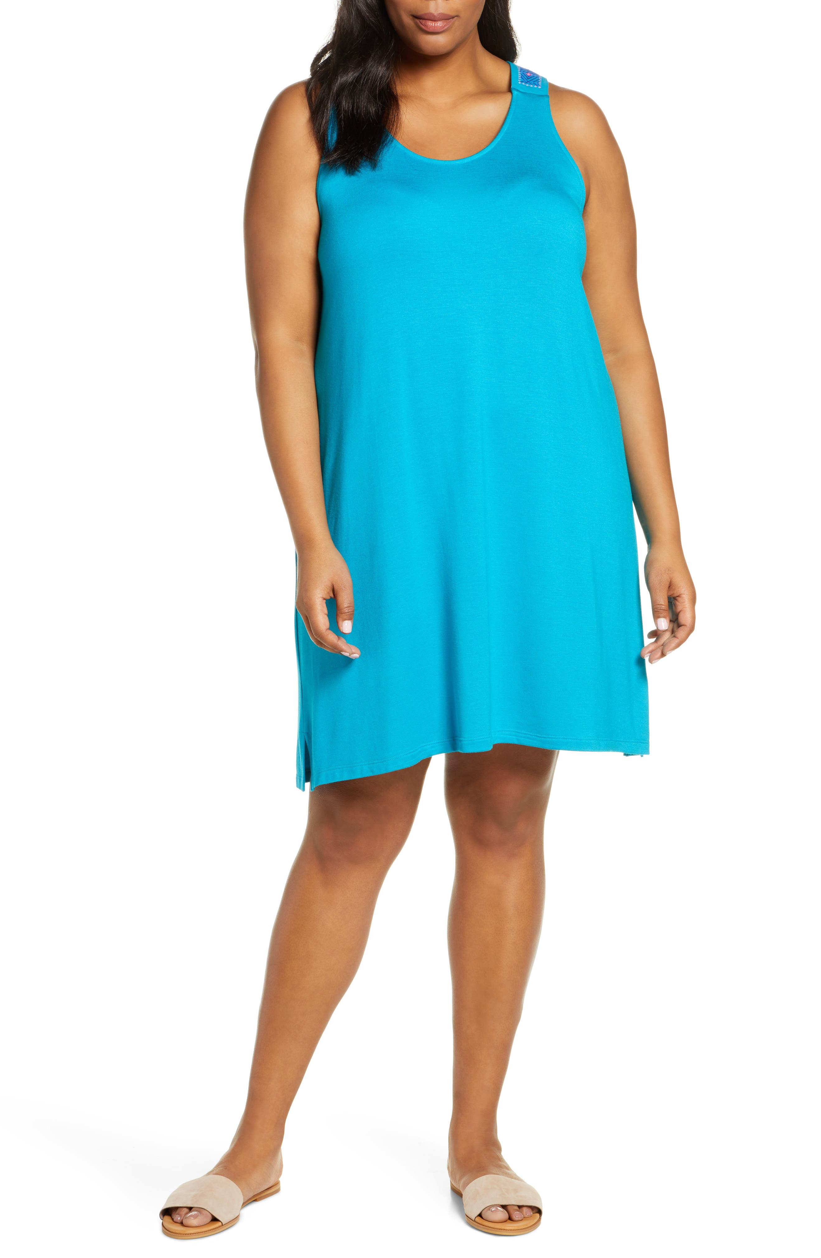 Plus Size Gibson X Hi Sugarplum! Sicily Embroidered Racerback Tank Dress, Blue