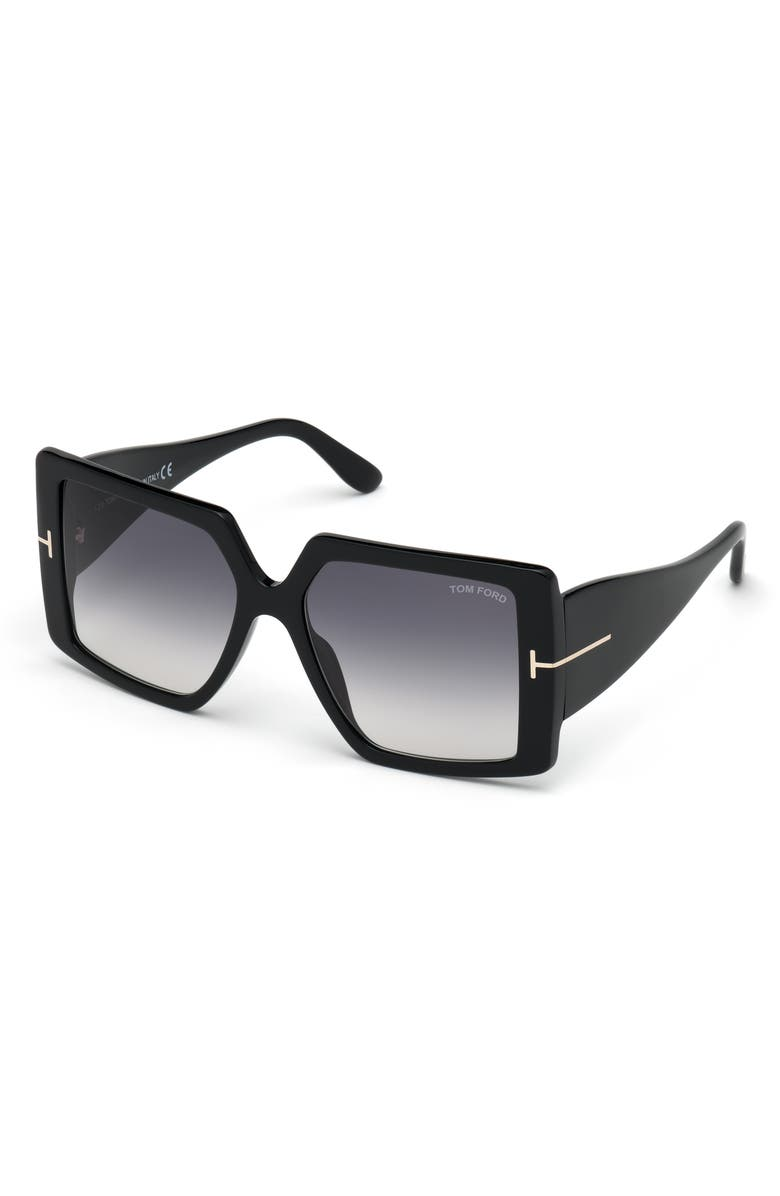 TOM FORD Quinn 57mm Gradient Square Sunglasses, Main, color, BLACK