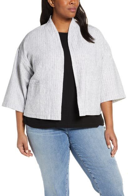 Eileen Fisher Jackets ORGANIC LINEN & COTTON BLEND CROP JACKET