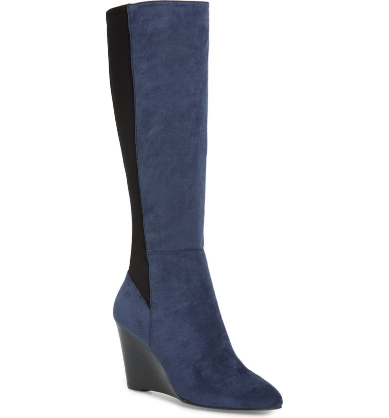 CHARLES BY CHARLES DAVID Energy Wedge Knee High Boot, Main, color, NAVY