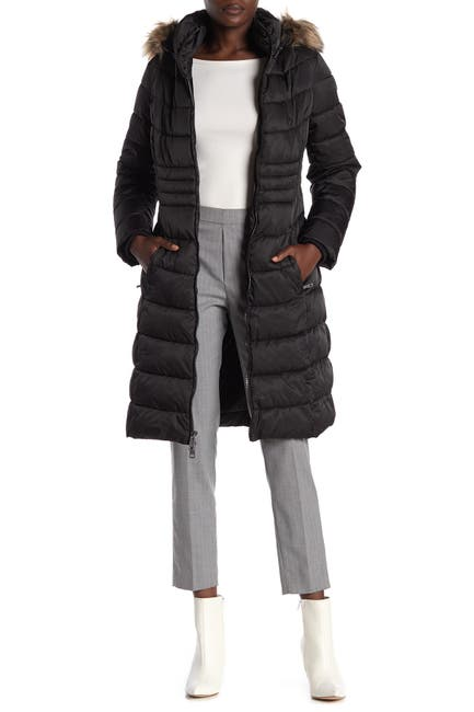 Image of KENNETH COLE Faux Fur Trimmed Puffer Jacket