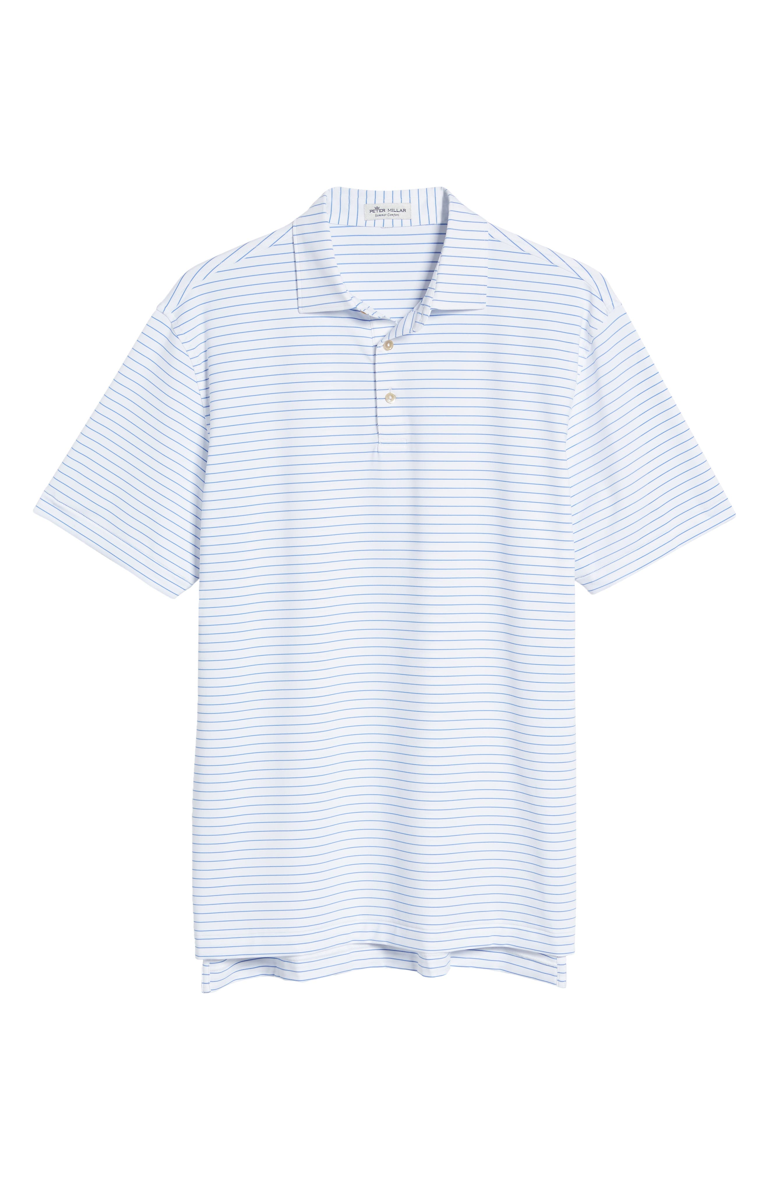 Stretchy, moisture-wicking fabric keeps up with you all day in a comfortably cut polo that offers added sun protection and helps keep odors at bay. Style Name: Peter Millar Crafty Stripe Short Sleeve Performance Polo. Style Number: 6053358. Available in stores.