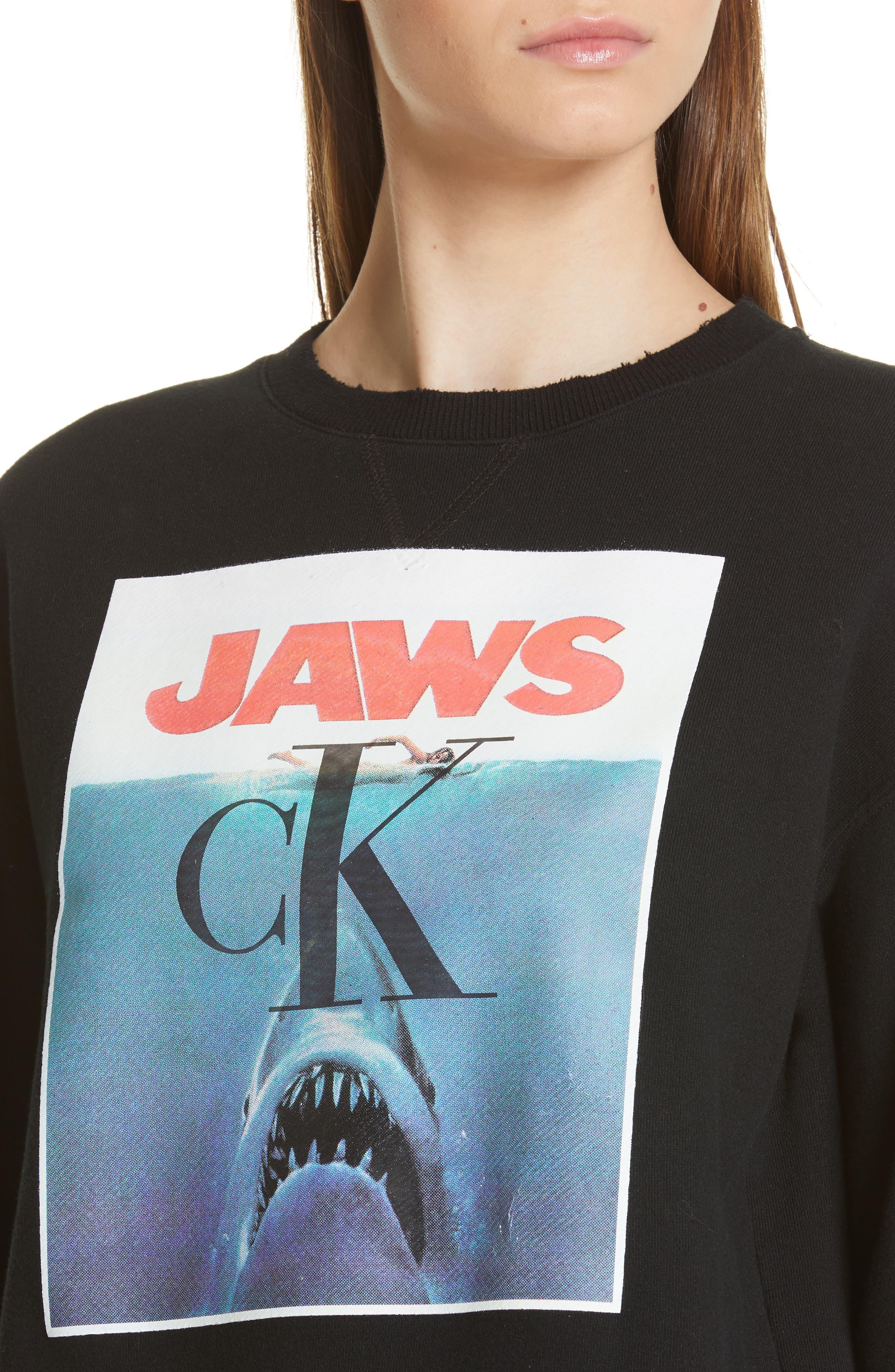 ,                             'Jaws' Graphic Sweatshirt,                             Alternate thumbnail 5, color,                             BLACK