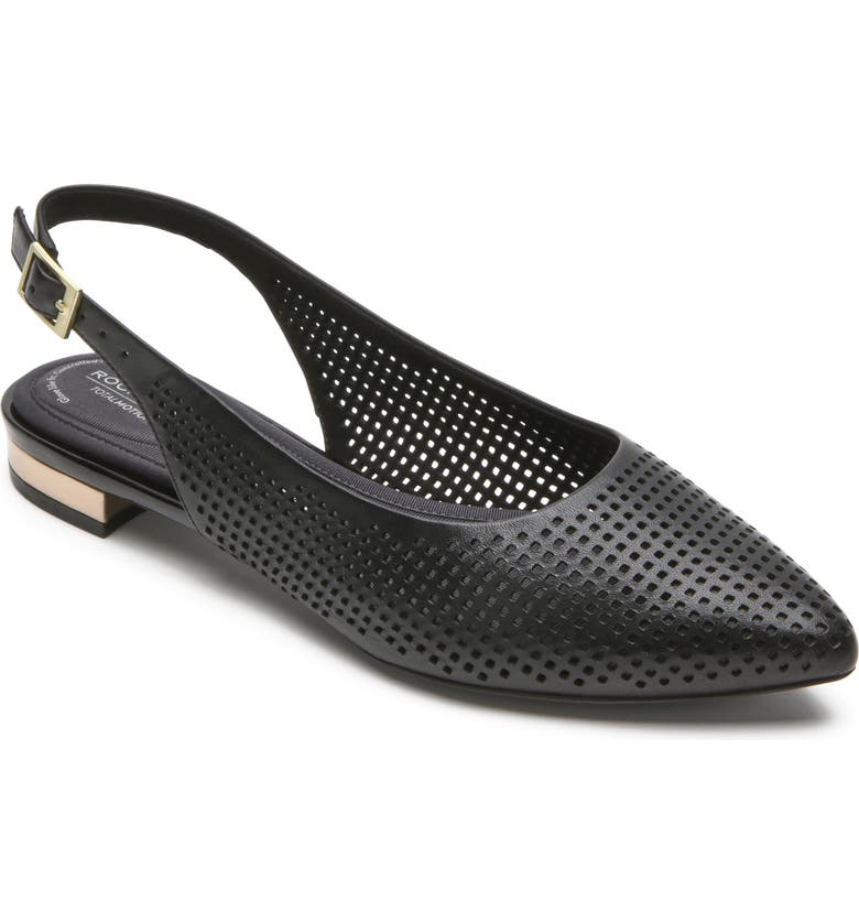 ROCKPORT Adelyn Perforated Slingback Flat, Main, color, 001