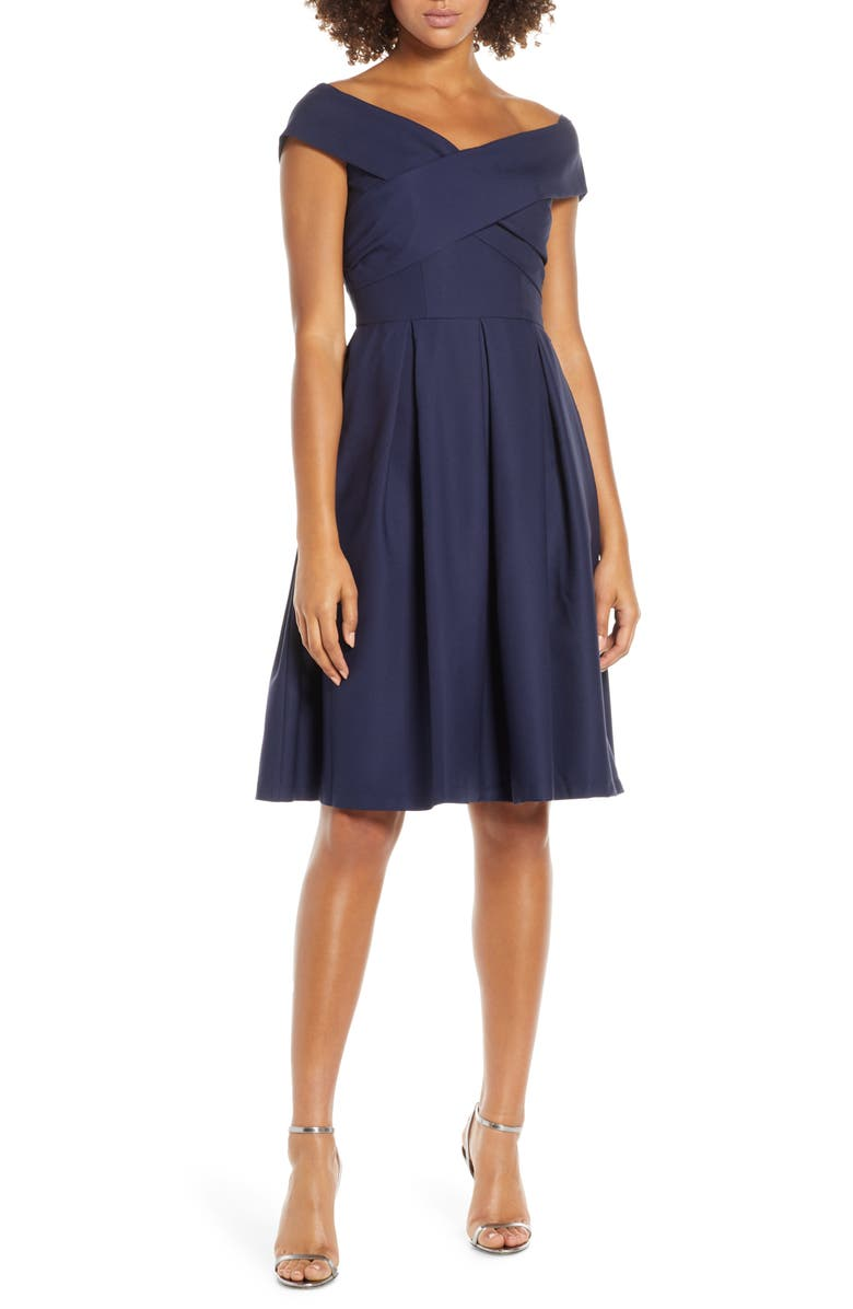 CHI CHI LONDON Bay Crossover Portrait Collar Cocktail Dress, Main, color, 410