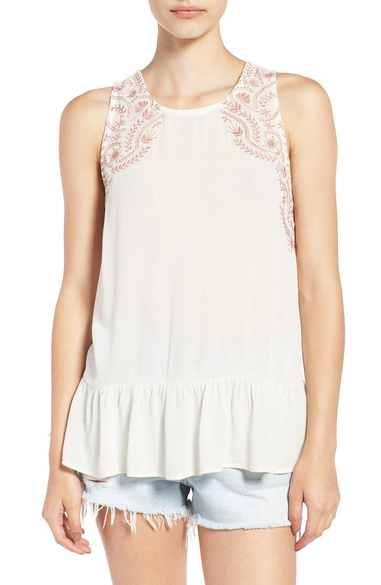 LOVE ON A HANGER Embroidered Peplum Tank, Main, color, 900