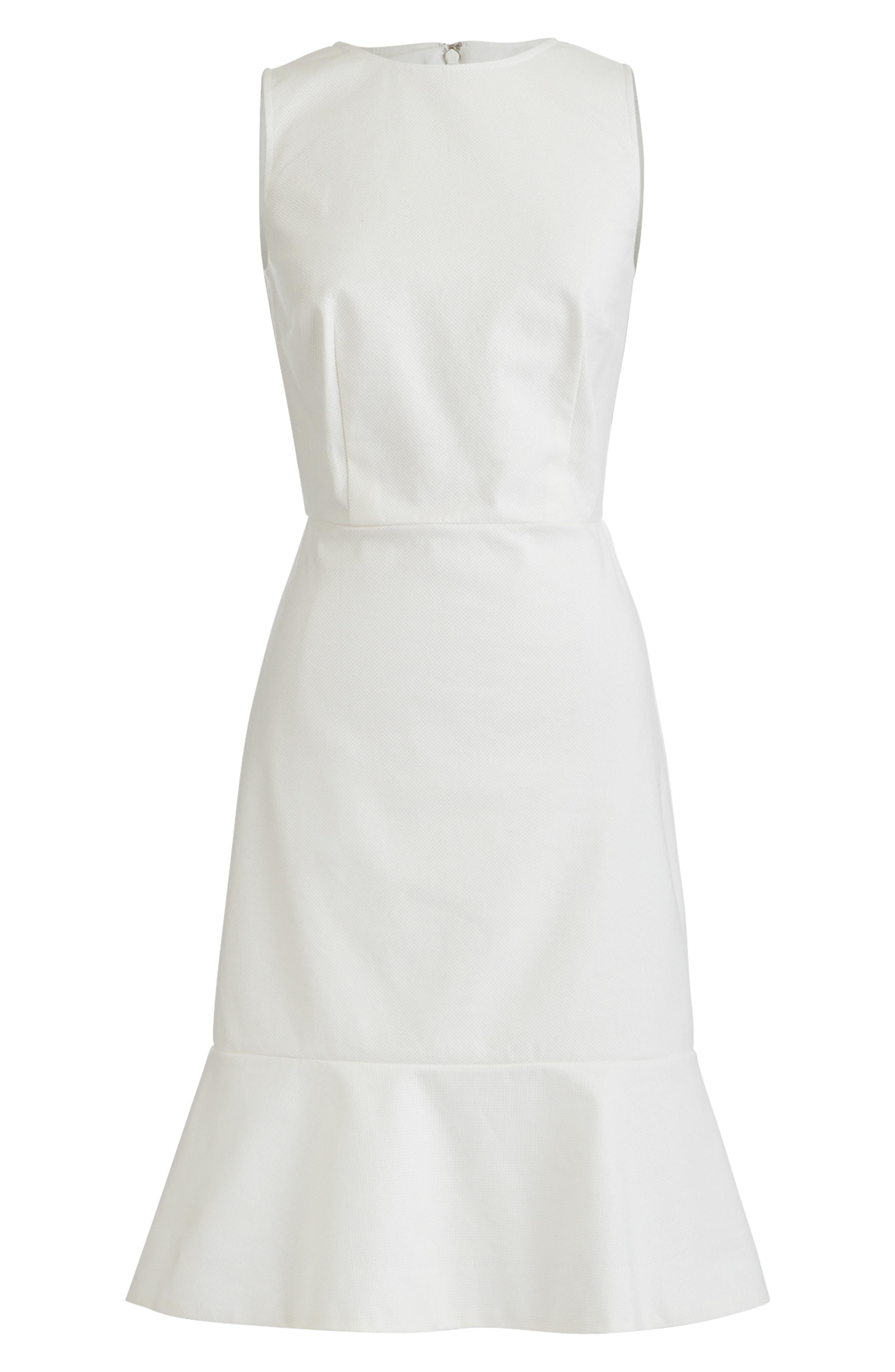 J.crew Fluted Hem Stretch Pique Sheath Dress, Ivory