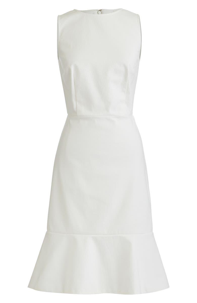 J.CREW Fluted Hem Stretch Piqué Sheath Dress, Main, color, 900
