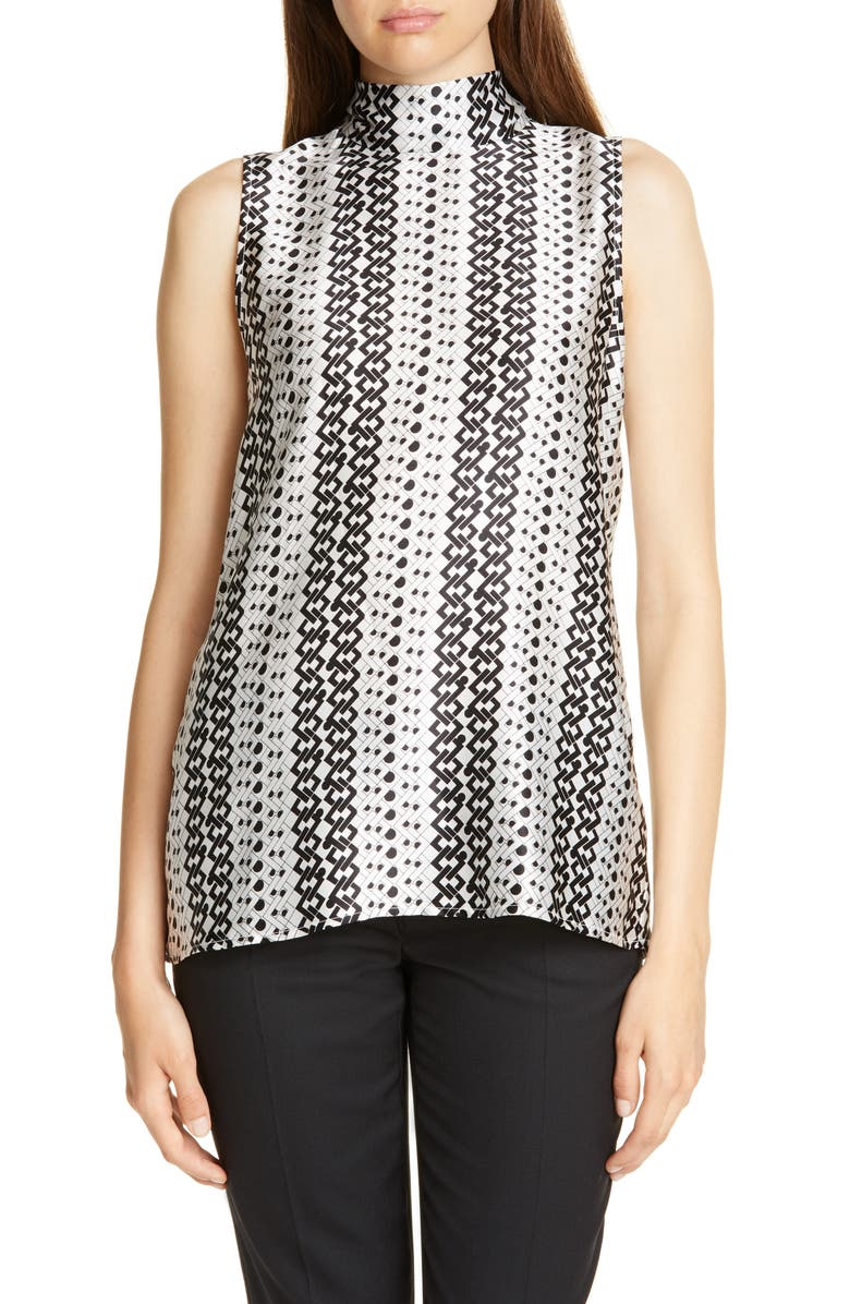 JUDITH & CHARLES Anders Pattern Mix Sleeveless Silk Top, Main, color, BLACK/ OFF WHITE