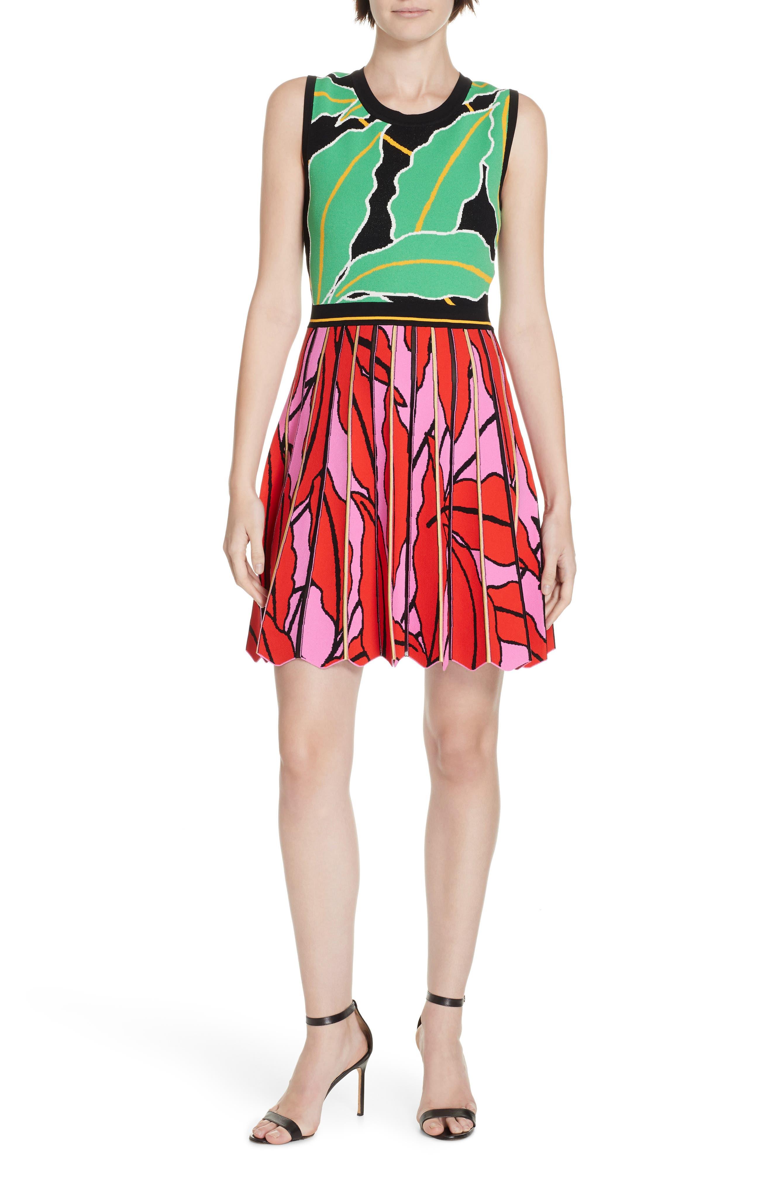 Dvf Parker Graphic Botanical Dress, Red
