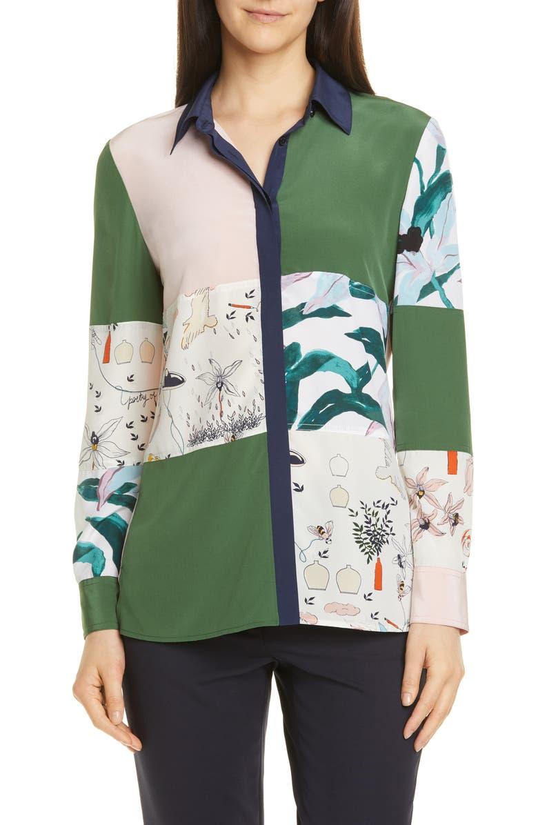 TORY BURCH Patchwork Silk Shirt, Main, color, 300