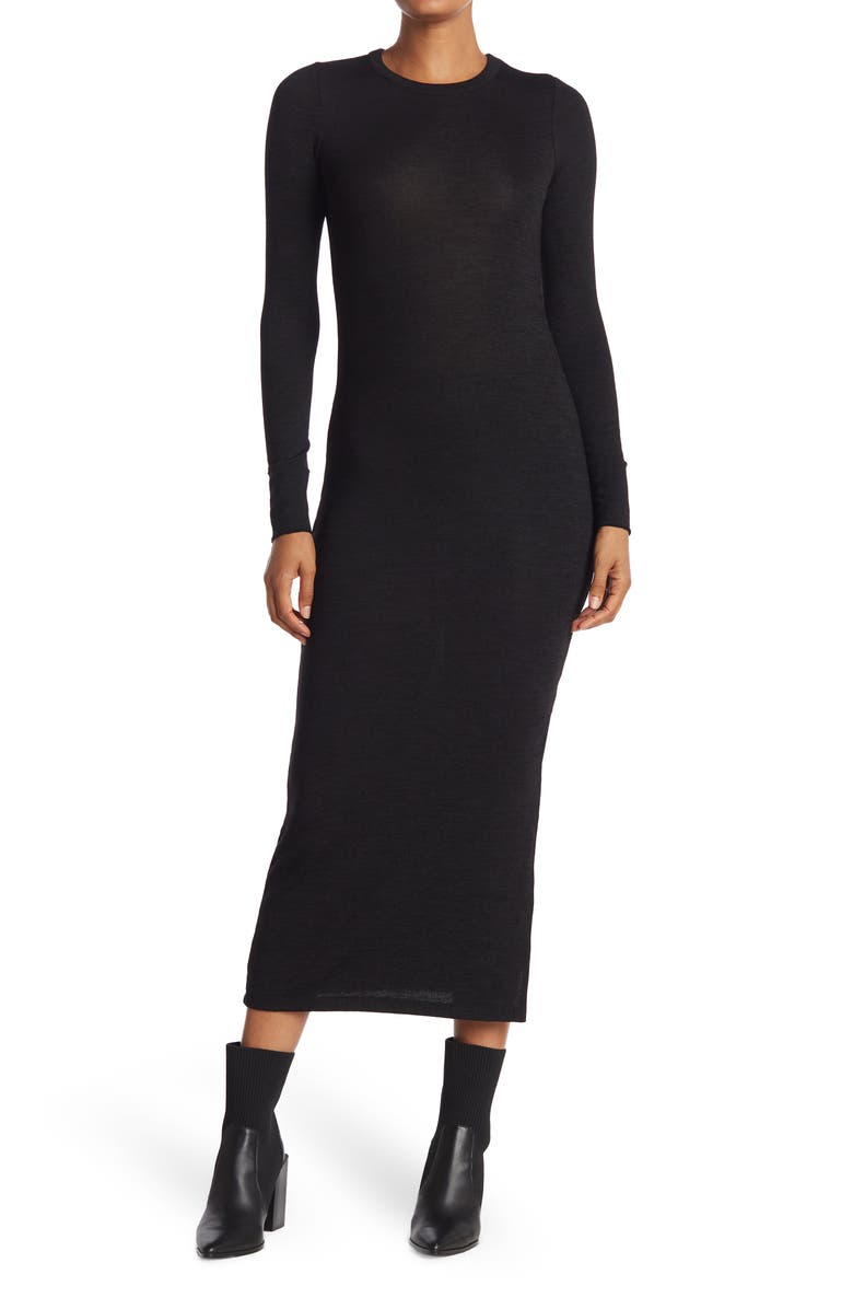 FRENCH CONNECTION Sweeter Long Sleeve Midi Sweater Dress, Main, color, BLACK