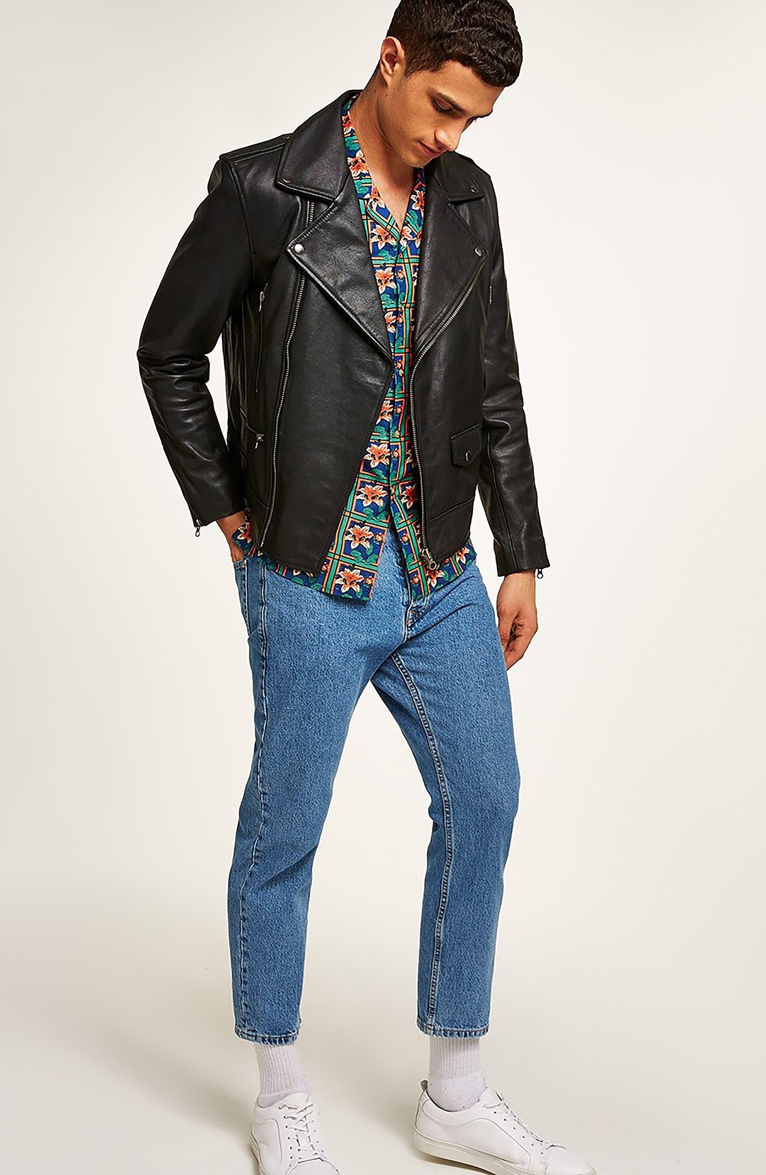 ,                             Classic Fit Leather Biker Jacket,                             Alternate thumbnail 6, color,                             BLACK
