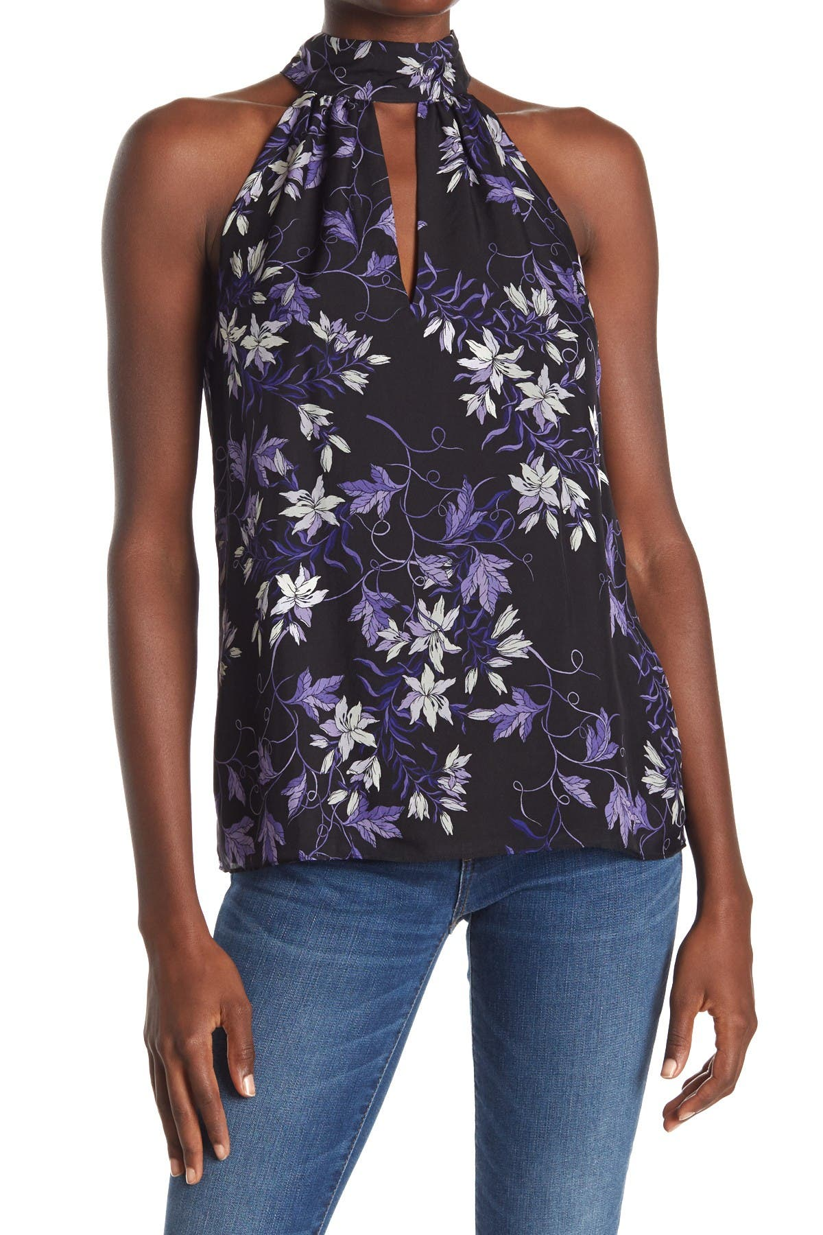 Image of Ramy Brook Joy Floral Print Halter Neck Silk Top