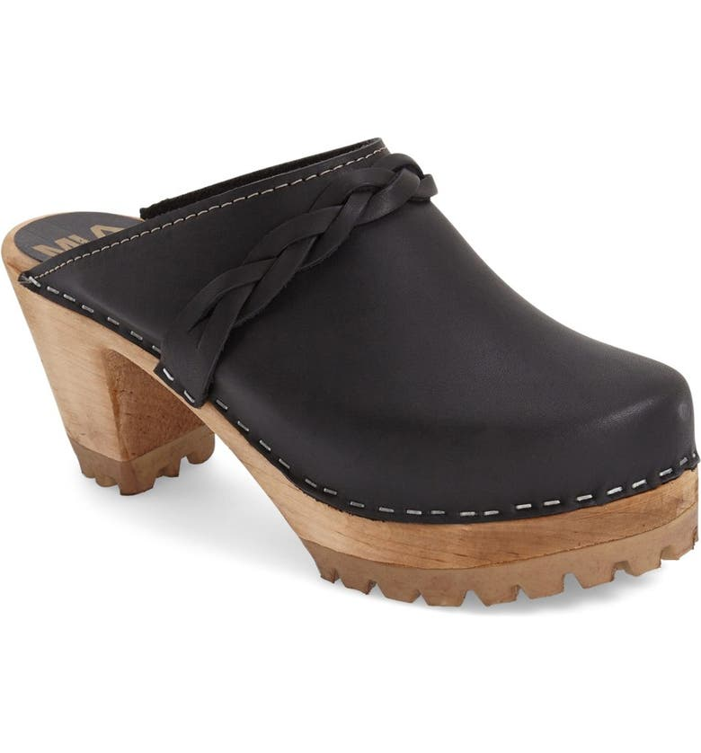MIA 'Elsa' Clog, Main, color, BLACK LEATHER