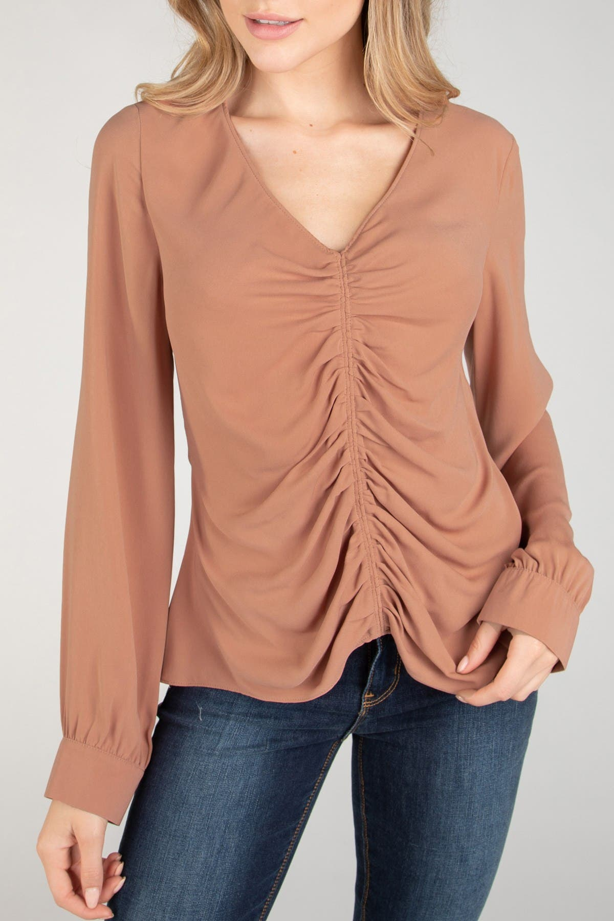 Image of Naked Zebra Ruched Front V-Neck Top