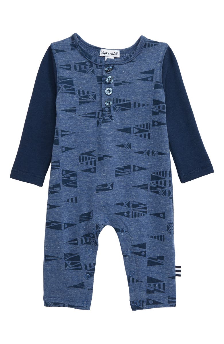 SPLENDID Flag Romper, Main, color, DARK BLUE HEATH
