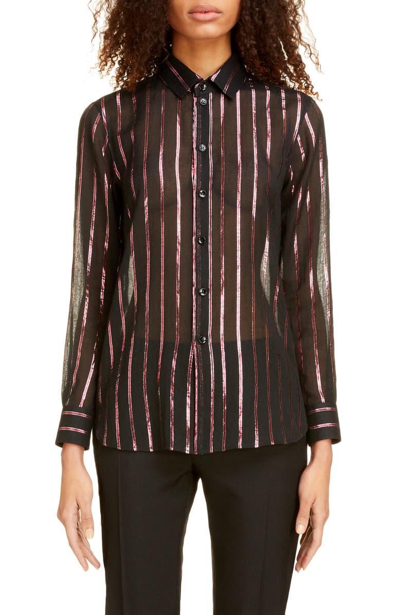 SAINT LAURENT Sheer Lamé Stripe Shirt, Main, color, NOIR FUXIA ARGENT