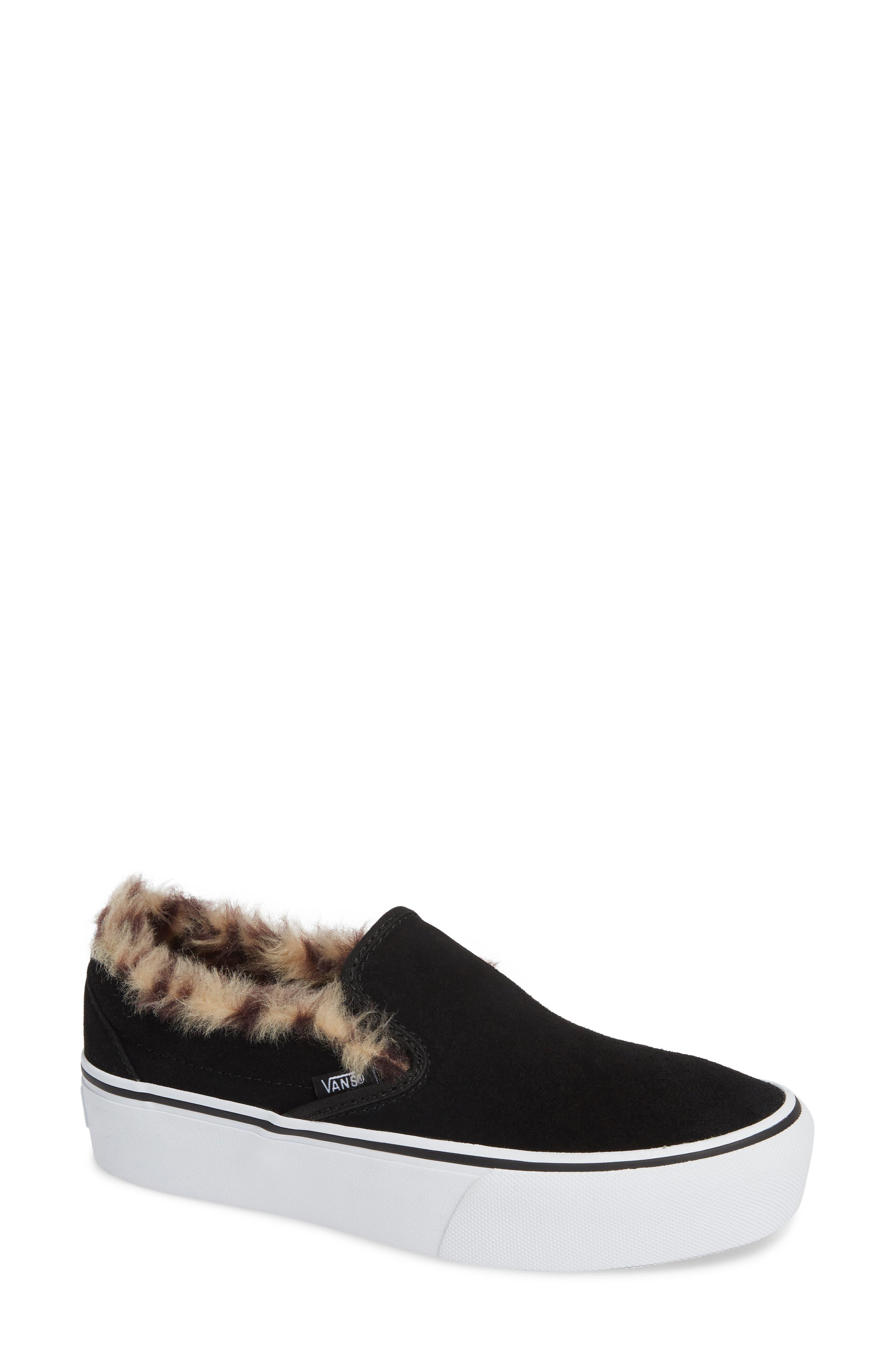 ,                             Classic Faux Fur Slip-On Platform Sneaker,                             Main thumbnail 1, color,                             001