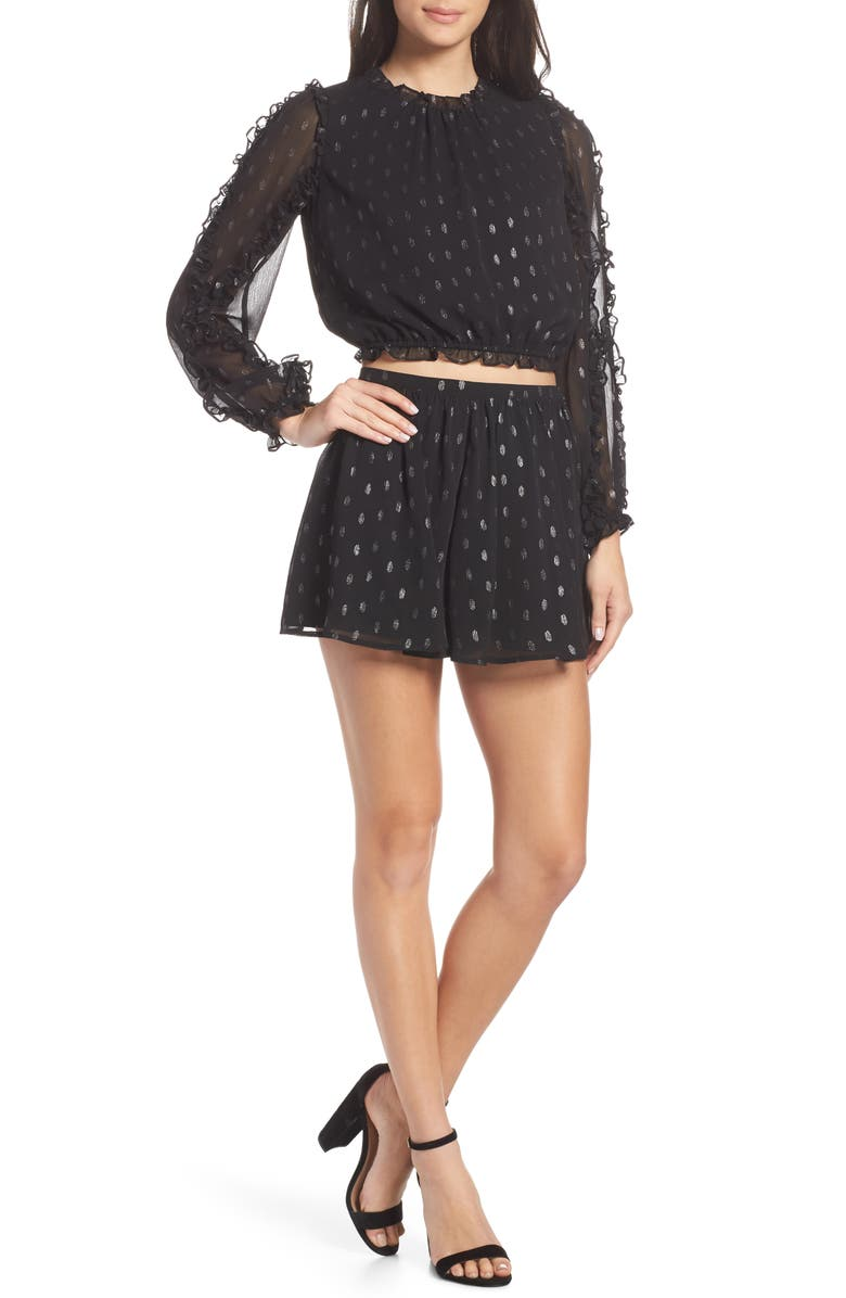 ALI & JAY First Kiss Two-Piece Romper, Main, color, GUN METAL