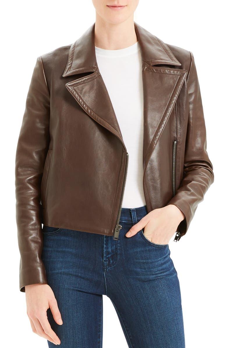 THEORY Slim Leather Moto Jacket, Main, color, DEEP UMBER
