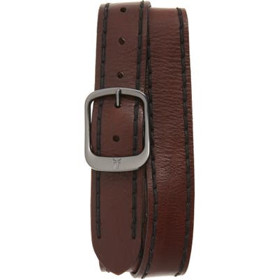Frye Stitched Edge Leather Belt, Brown