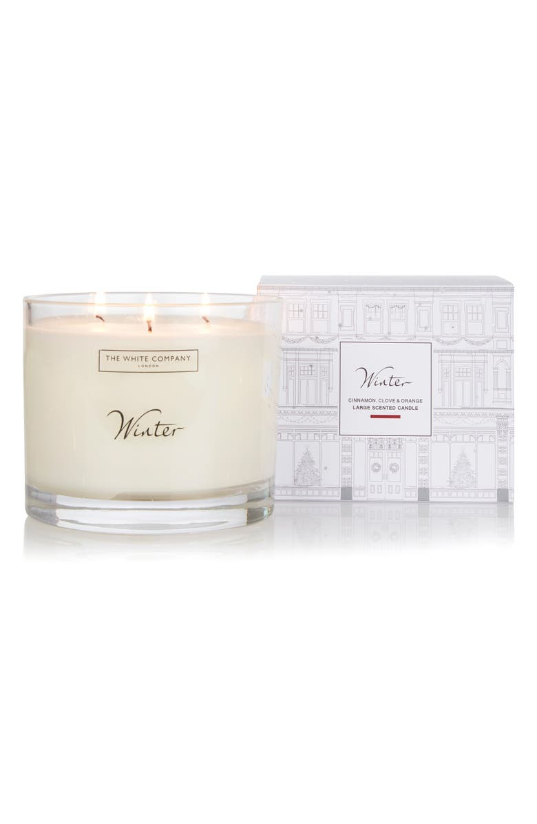 THE WHITE COMPANY Winter Three-Wick Candle, Main, color, WHITE