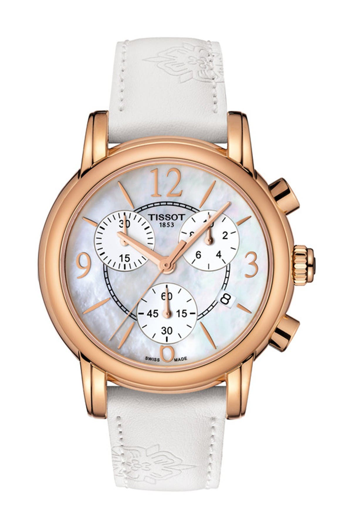 Image of Tissot Women's Dressport Mother of Pearl Leather Strap Watch, 35mm