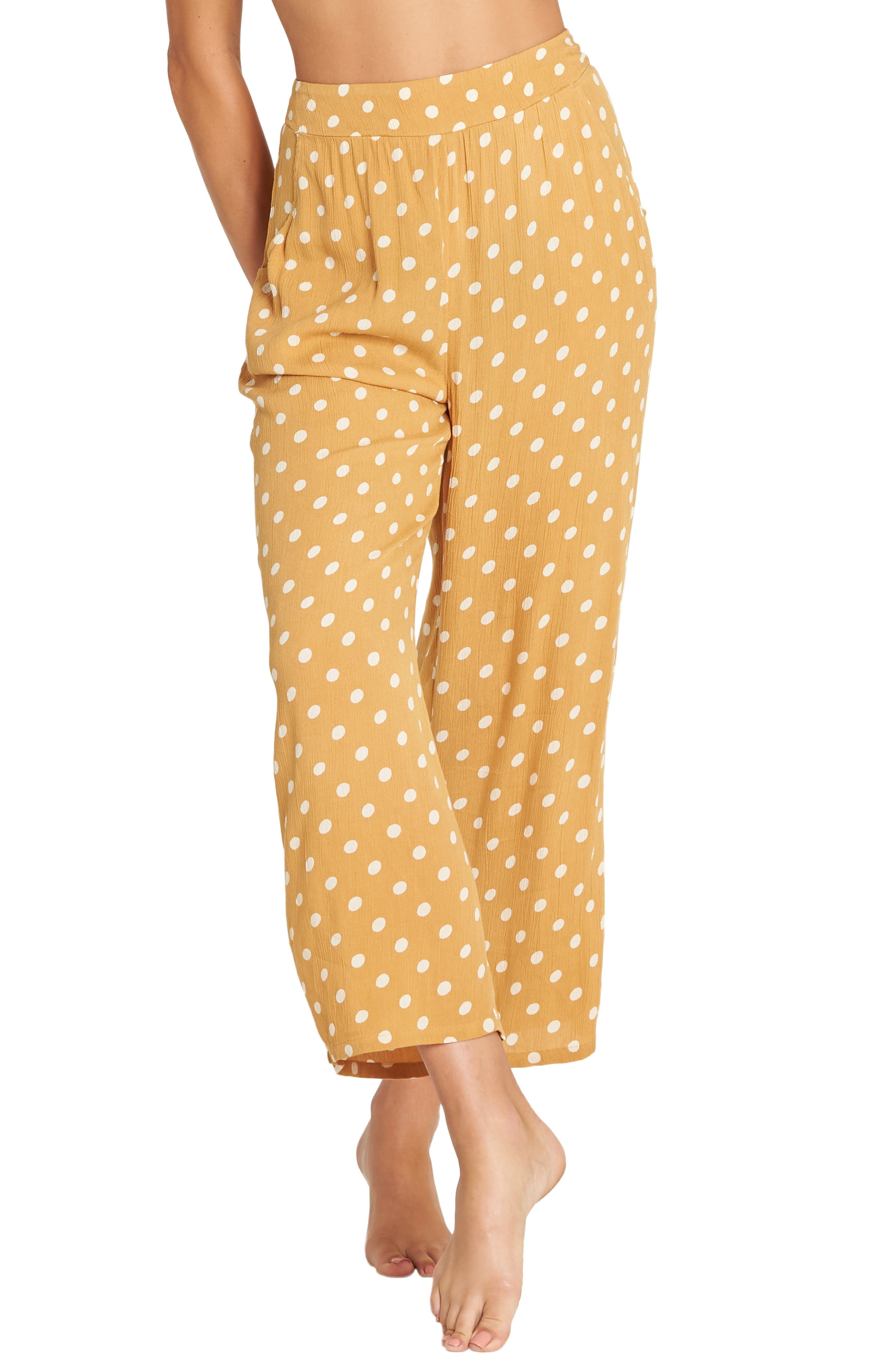 Cut Through Print Wide Leg Crop Pants, Main, color, WILD HONEY