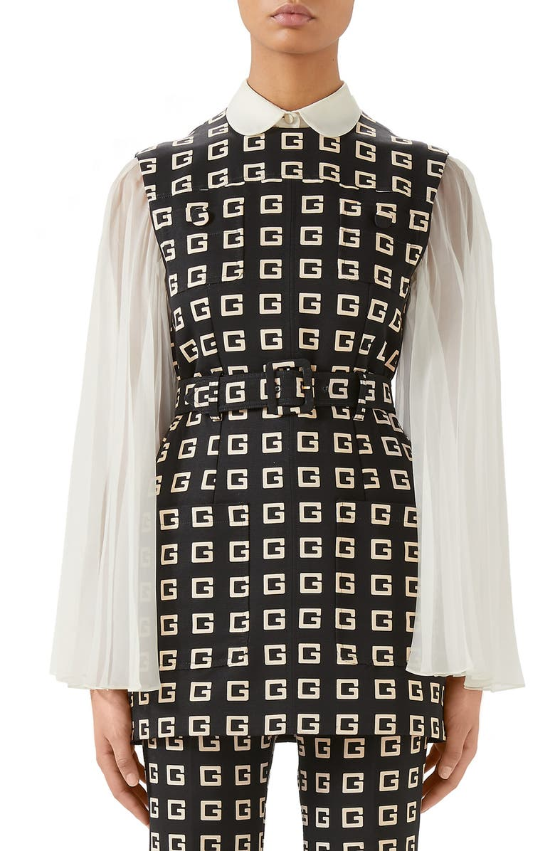 Square-G Logo Print Belted Faille Tunic by Gucci, available on nordstrom.com for $2100 Kendall Jenner Top Exact Product
