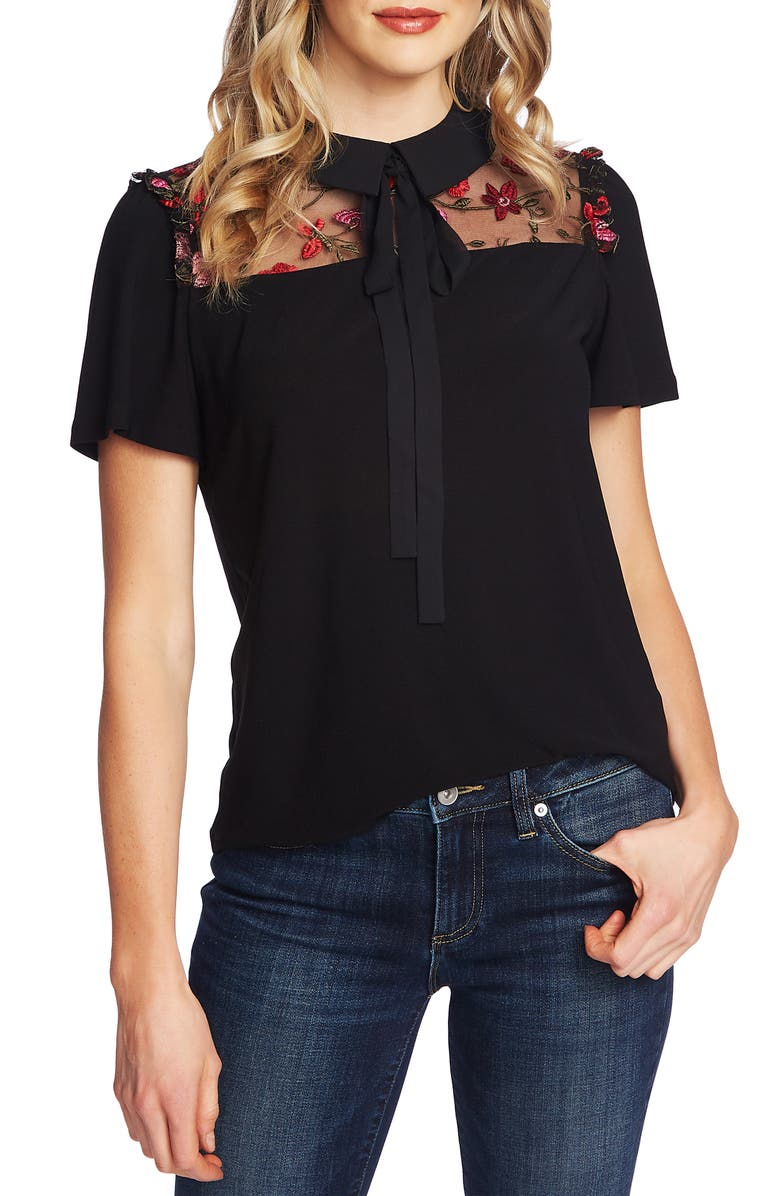 Tie Neck Embroidered Top, Main, color, RICH BLACK