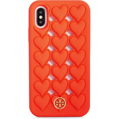 Tory Burch Hearts Silicone Iphone X/xs Case - Red
