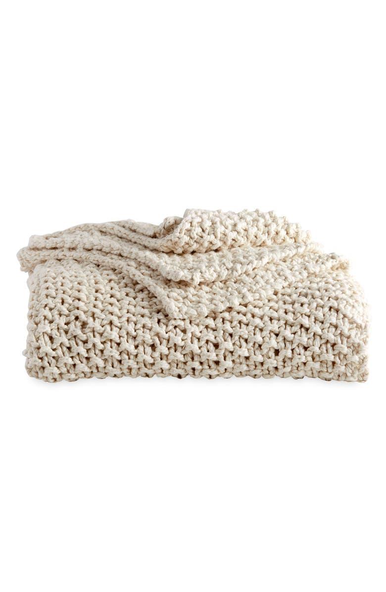 DKNY PURE Chunky Knit Throw Blanket, Main, color, 250